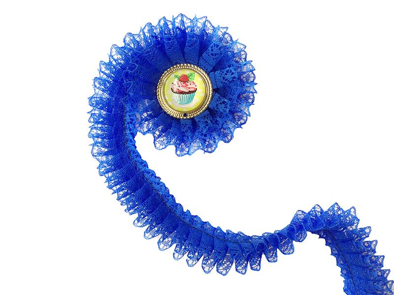 Кружево плиссированное 30мм (цв. синий)