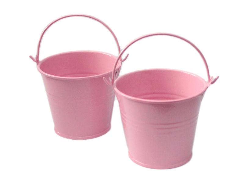 Ведро декоративное (металл)розовое 5,5см х 5,7см