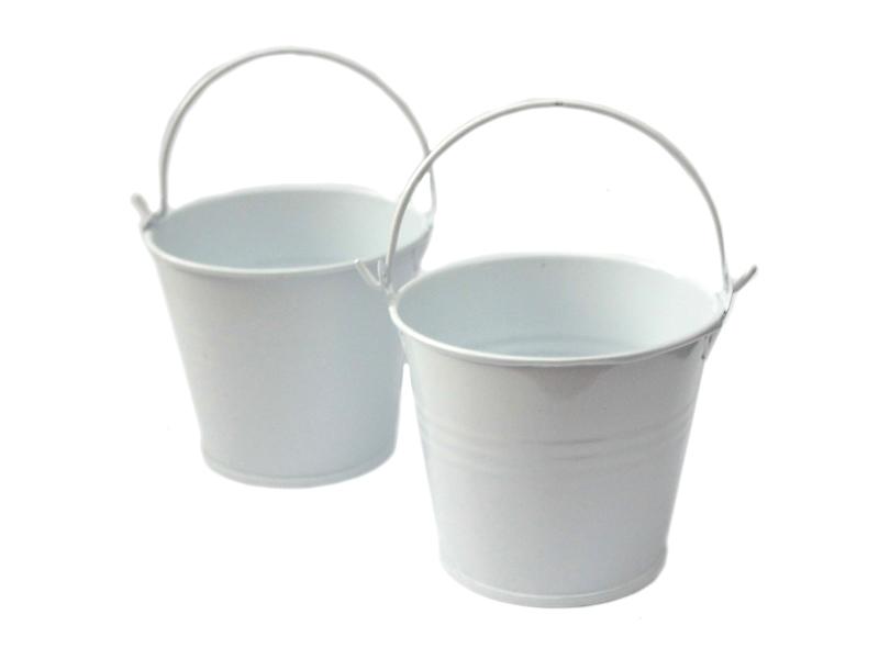 Ведро декоративное (металл)белое 6,5см х 6,7см