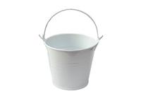 Ведро декоративное (металл)белое 7см х 7,7см