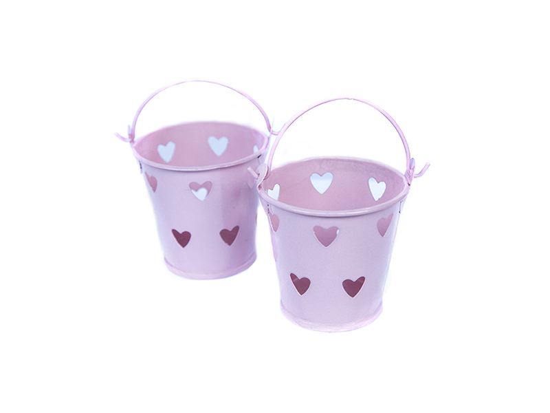 Ведро декоративное (металл)розовое сердце 5,5см х 5,7см