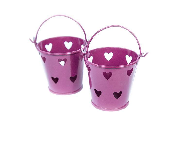 Ведро декоративное (металл) т.розовое сердце 5,5см х 5,7см