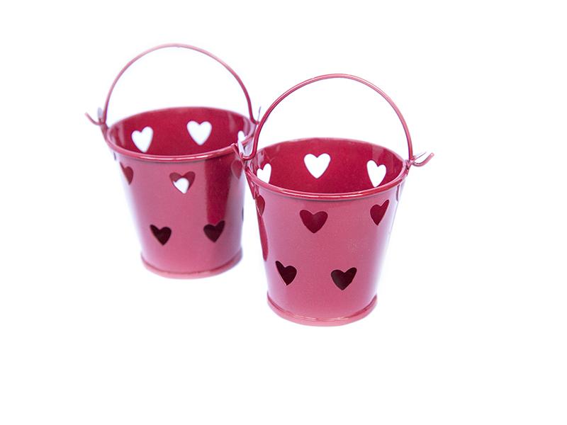Ведро декоративное (металл)красное сердце 5,5см х 5,7см