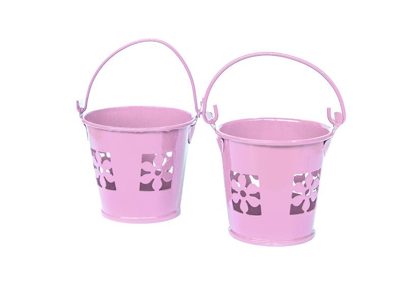 Ведро декоративное (металл)розовое цветок 5,5см х 5,7см