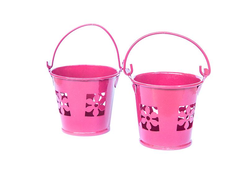 Ведро декоративное (металл) т.розовое цветок 5,5см х 5,7см