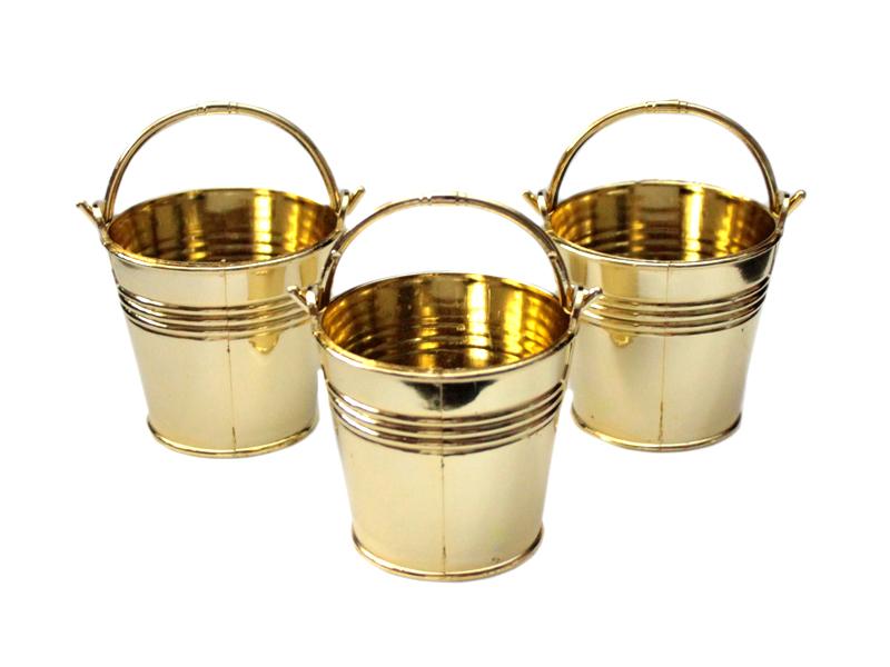 Ведро декоративное (пластик) хром-золото 5см х 5,5см