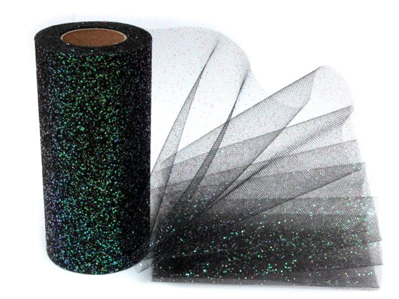 Фатин с блестками 15см x 25ярдов (цв.черный)
