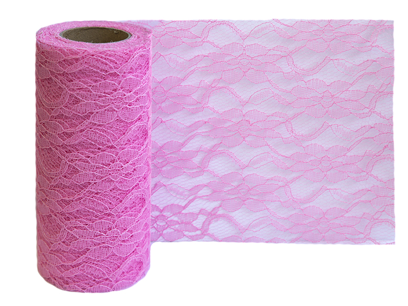 Кружево на шпульке 15см x 10ярдов (цв.розовый)