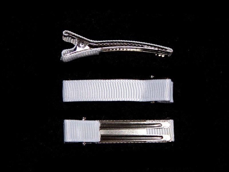 Заколка-основа(металл-ткань)цв.белый 50мм