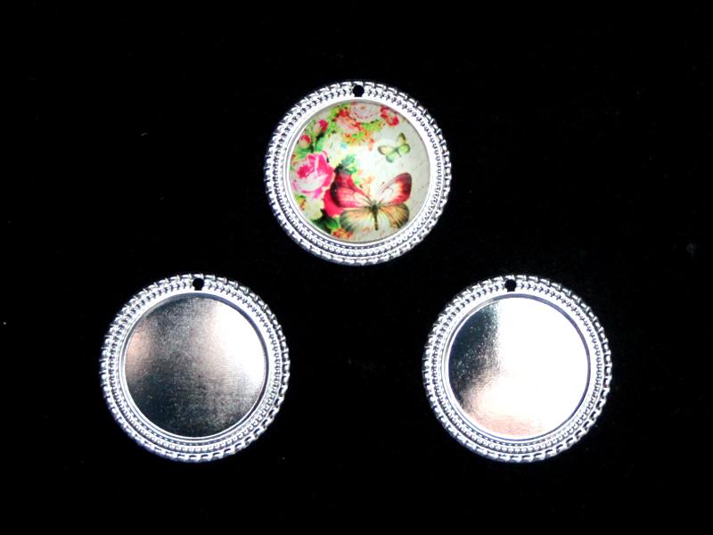 Рамки для кабашонов металл(раз. внутри 25мм) серебро