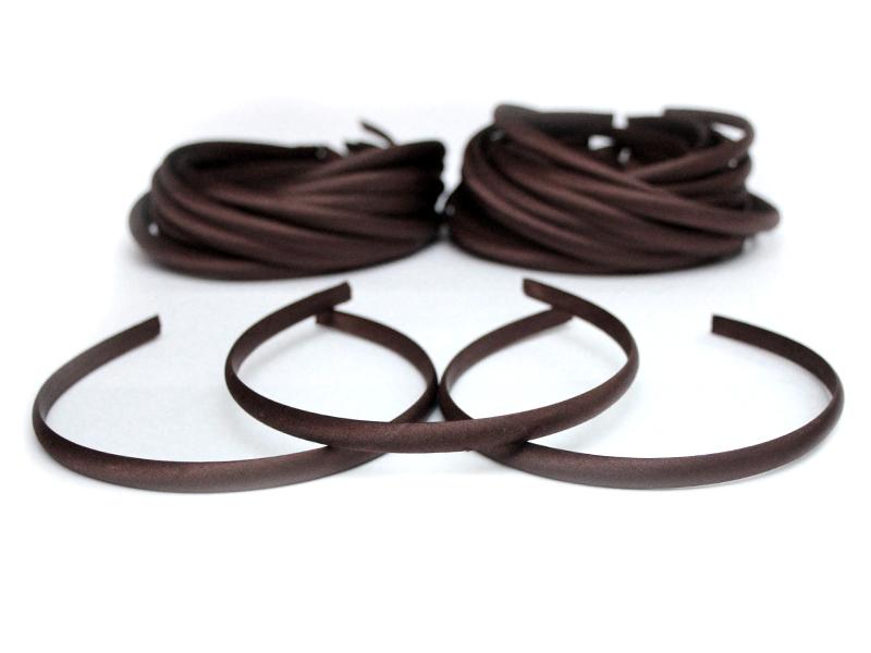 Ободок-основа (пластик-ткань) цвет коричневый 1см