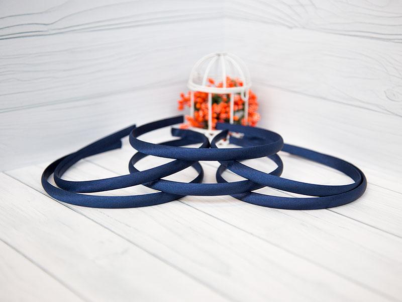 Ободок-основа (пластик-ткань) цвет синий 1см
