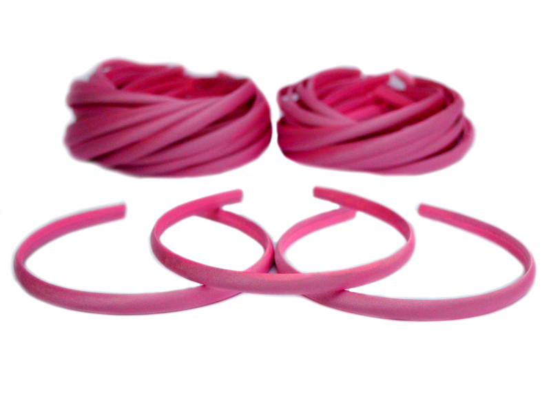Ободок-основа (пластик-ткань) цвет темно-розовый 1см