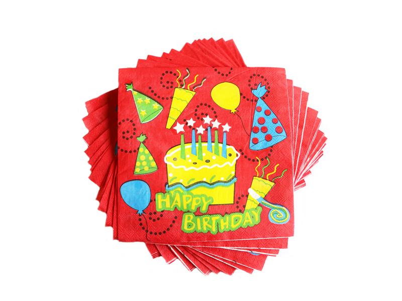 Салфетки бумажные Happy Birthday 16х16см