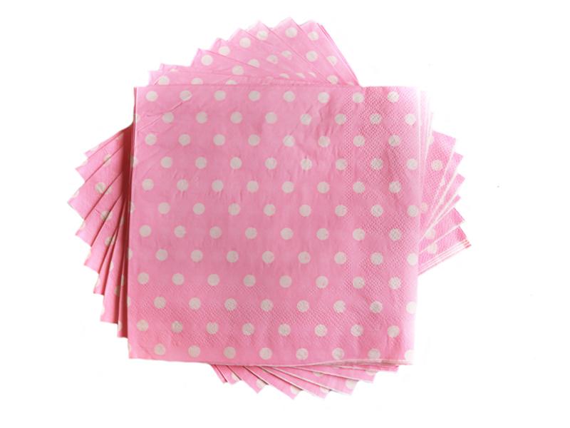Салфетки бумажные (цв. св.розовый) 16х16см