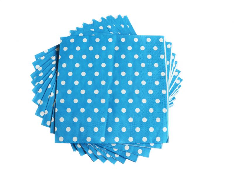 Салфетки бумажные (цв. голубой) 16х16см