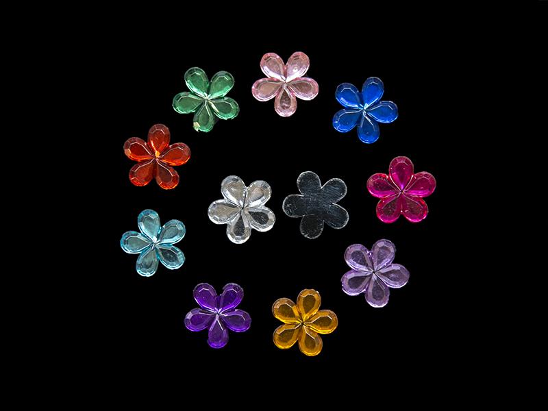 Стразы пластик цветы  цв. микс 16мм